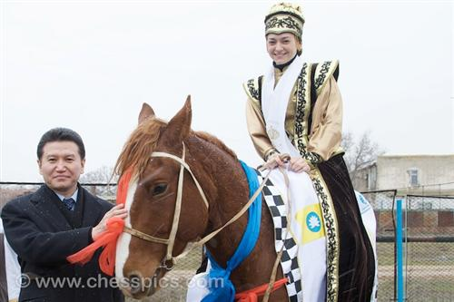 Kirsan Ilyumzhinov and Queen of chess Alexandra Kosteniuk in Kalmykia