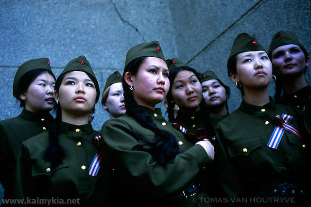 Kalmyk girls wear soviet era military uniforms as part of Victory Day celebrations in Elista