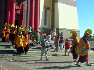 Festive procession of Buddhist monks